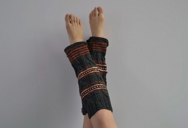 Dark woolen legwarmers photo 4