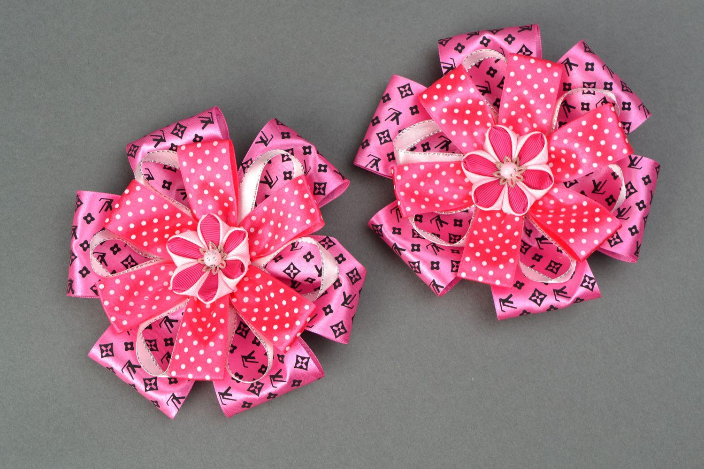 Set of bright hair ties with large ribbon bows Pink photo 1