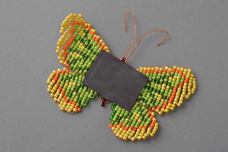 Handmade fridge magnet woven green butterfly made of beads photo 4