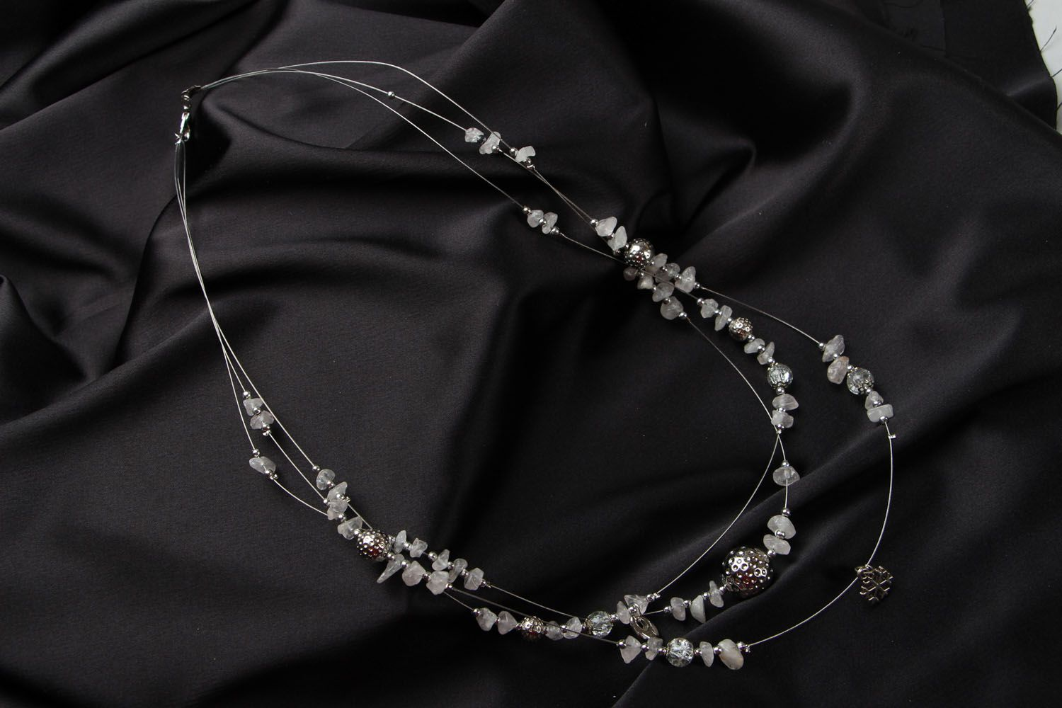 Beaded necklace with quarts New Year Mood photo 1