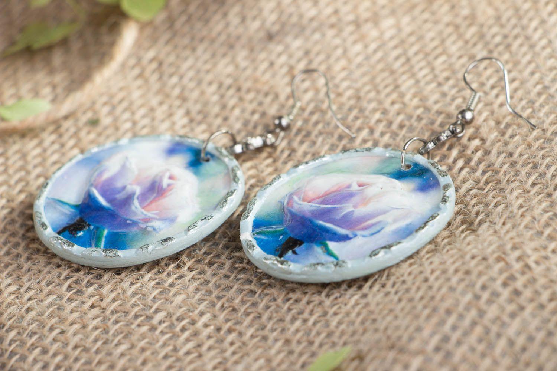 Homemade earrings Misty Rose photo 2