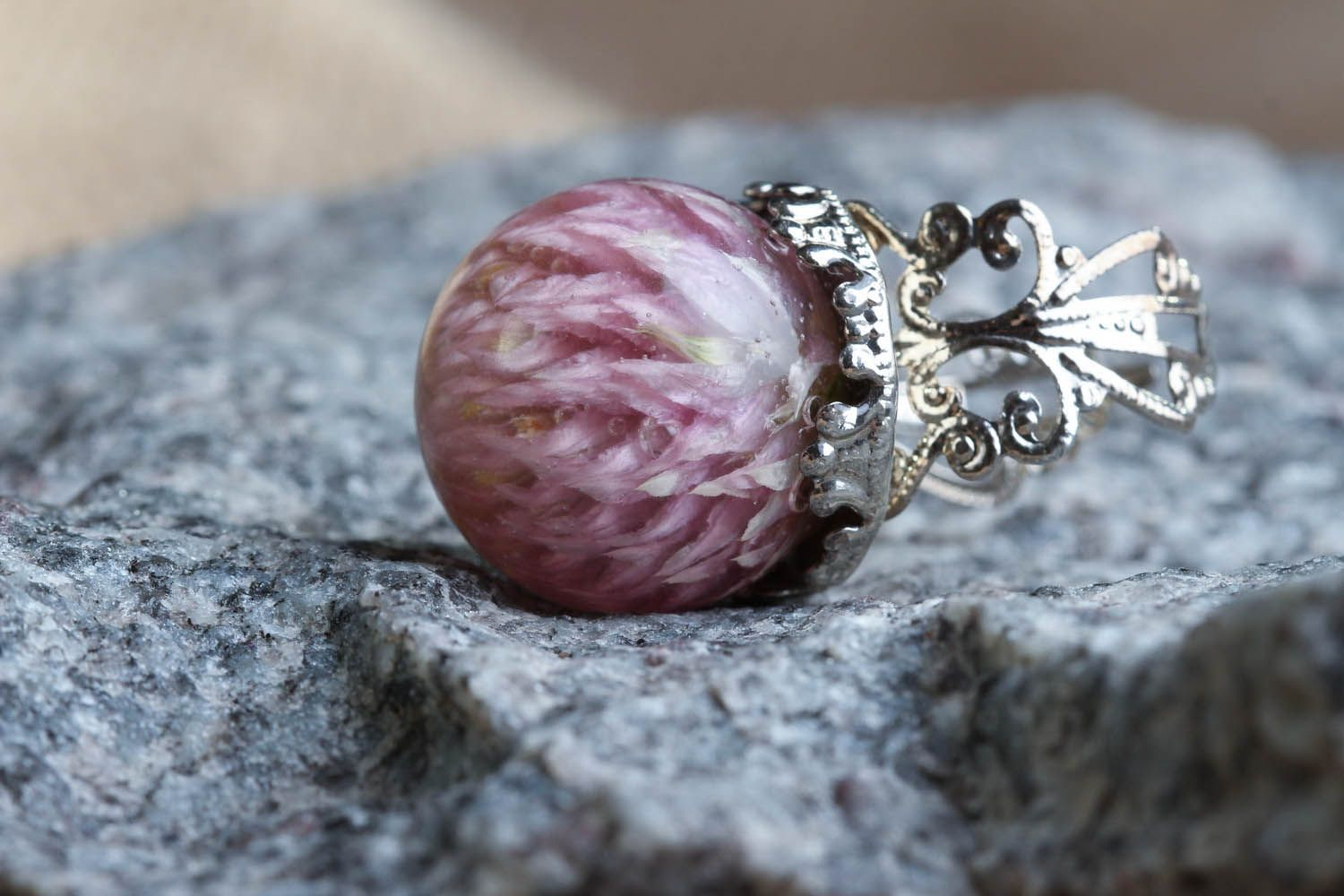 Ring with natural flower photo 4