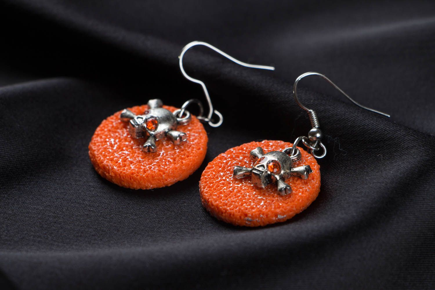 Polymer clay earrings with skulls photo 2