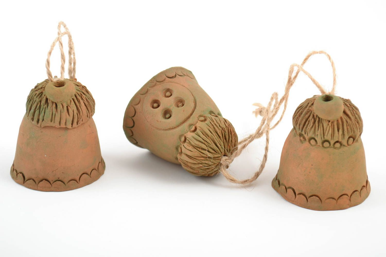 Set of 3 handmade ethnic decorative figured ceramic bells in the shape of houses photo 3