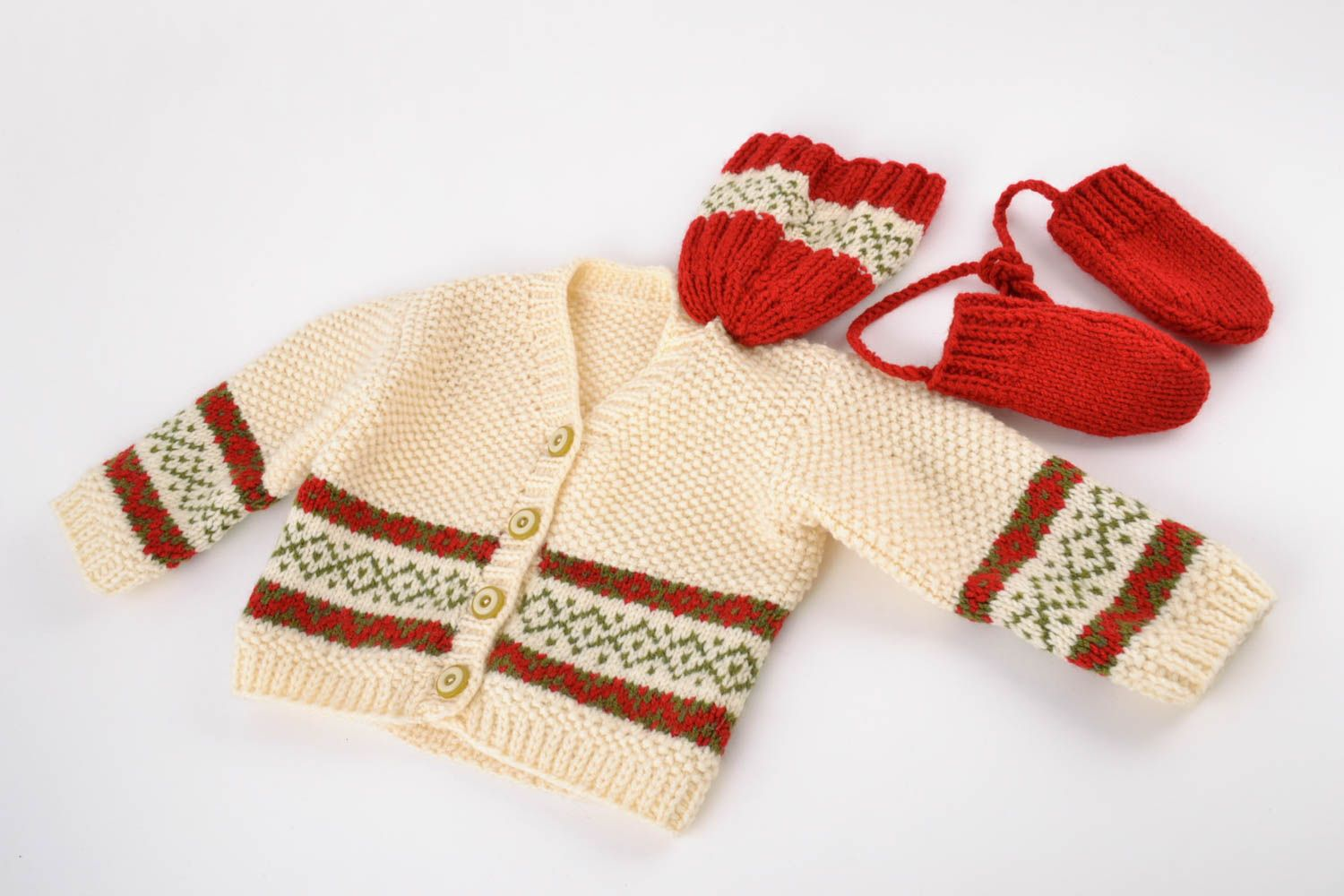 b20ab791ac1 vests Set of handmade warm knit baby boy clothes 3 items cardigan mittens  and hat ...