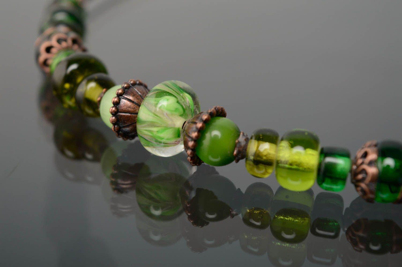 Grünes Lampwork Collier aus Glas foto 4