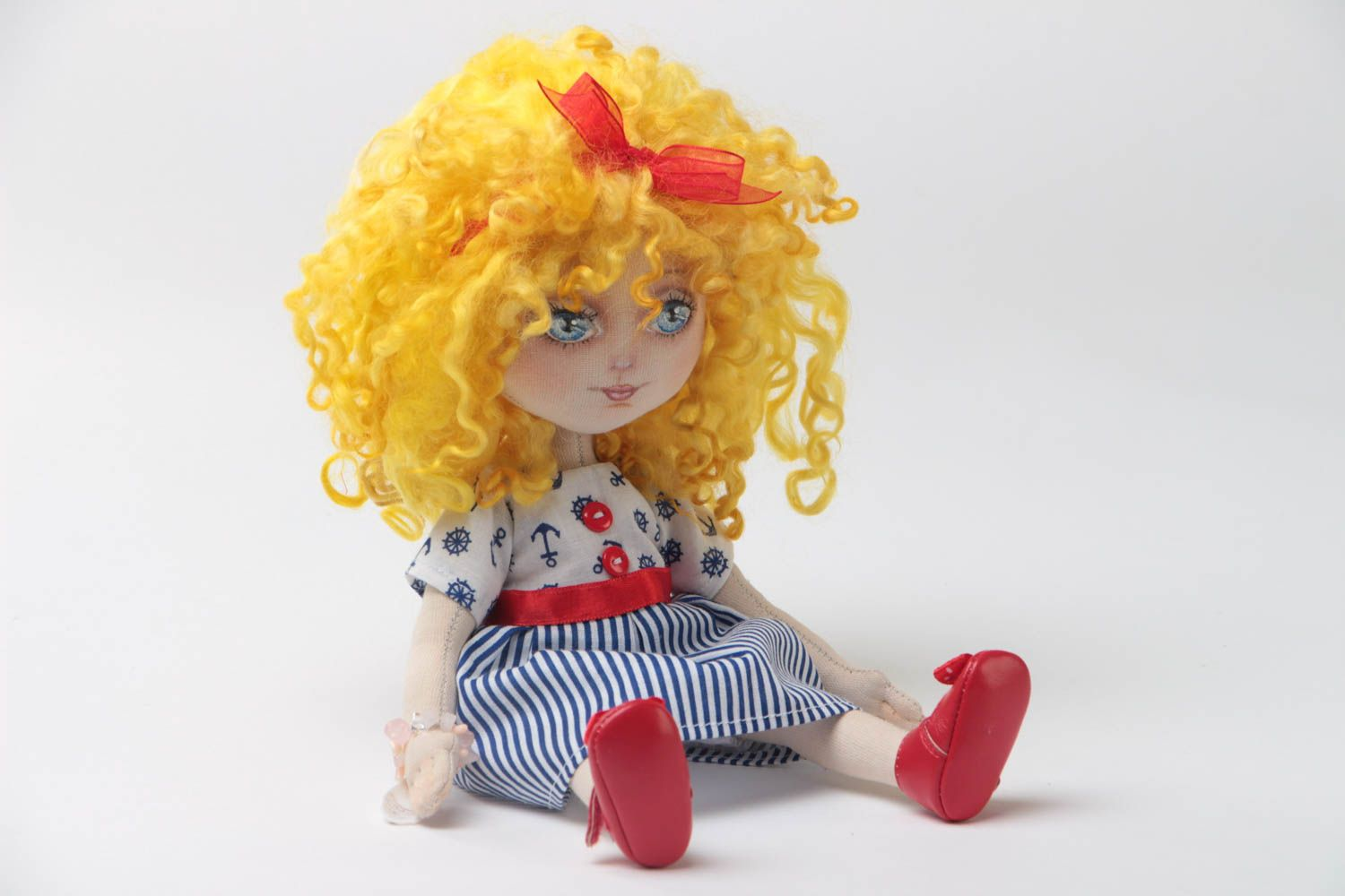 Handmade designer small fabric soft doll in blue striped dress and red shoes photo 2