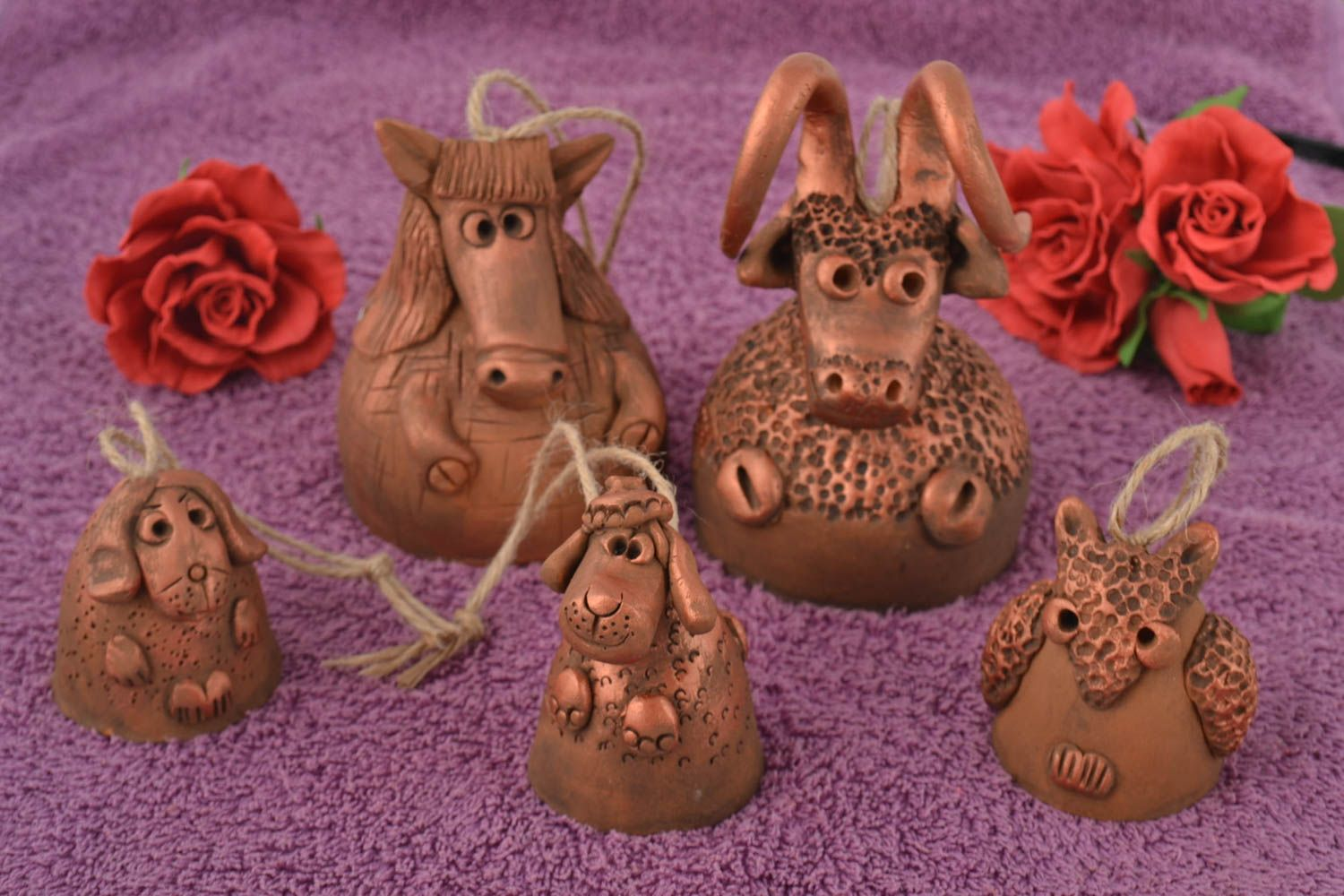 Set of 5 handmade designer figured clay bells of different sizes for home decor photo 1