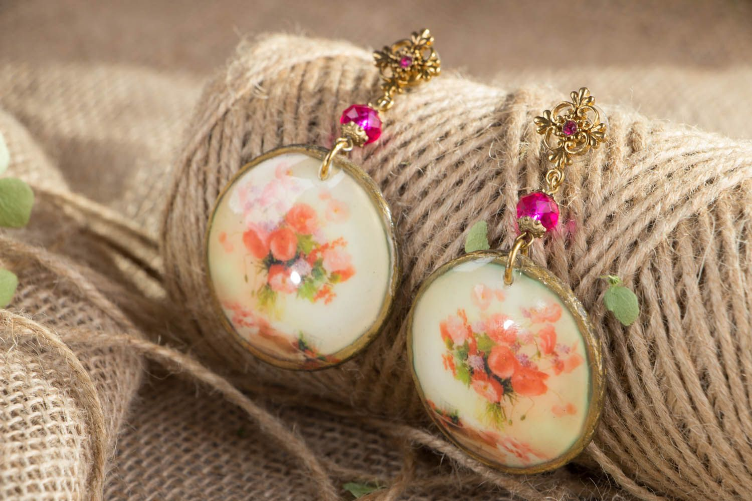 Vintage earrings made using decoupage technique photo 4