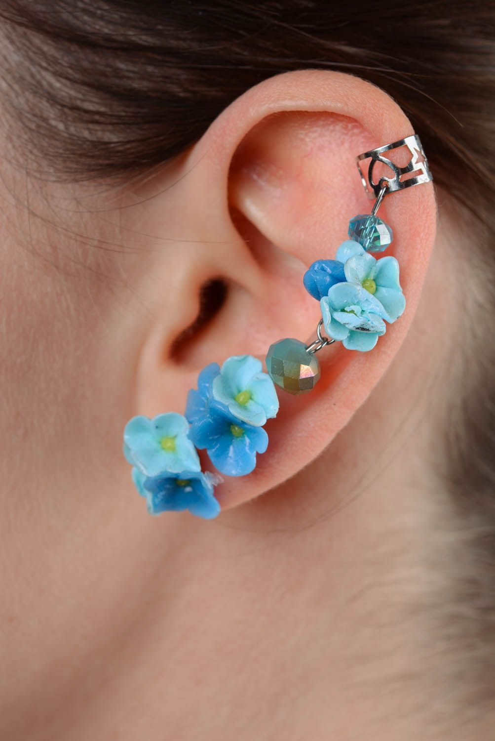 Polymer clay ear cuffs Forget-me-not flowers photo 3