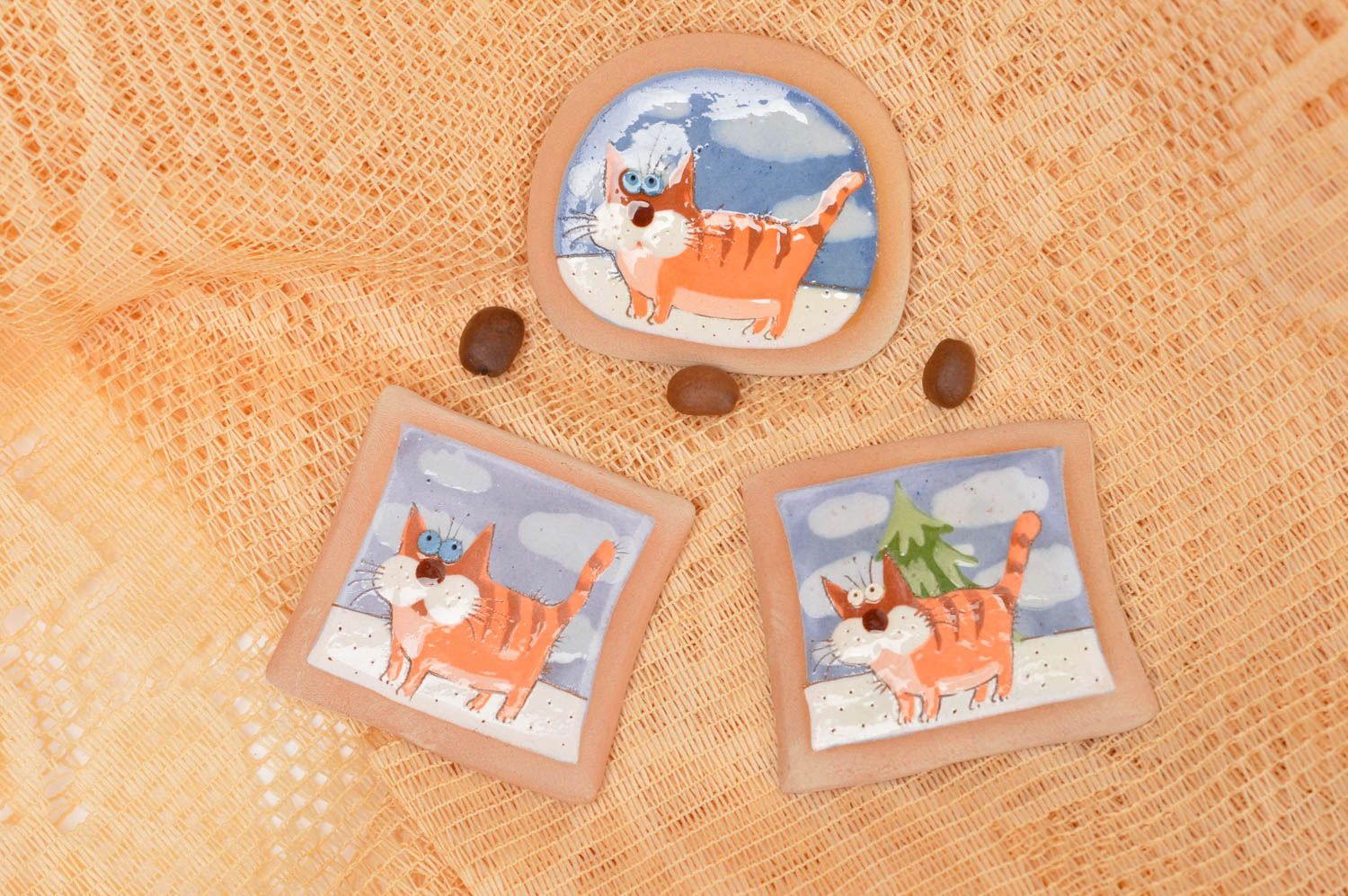 Handmade fridge magnet funny clay magnets cool fridge magnets 3 pieces photo 1