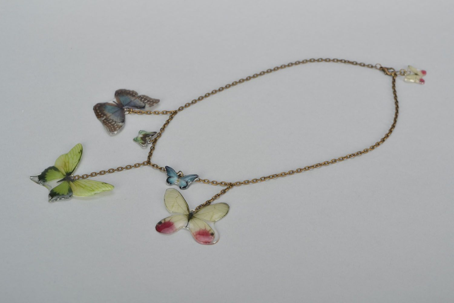 Real butterfly necklace photo 1