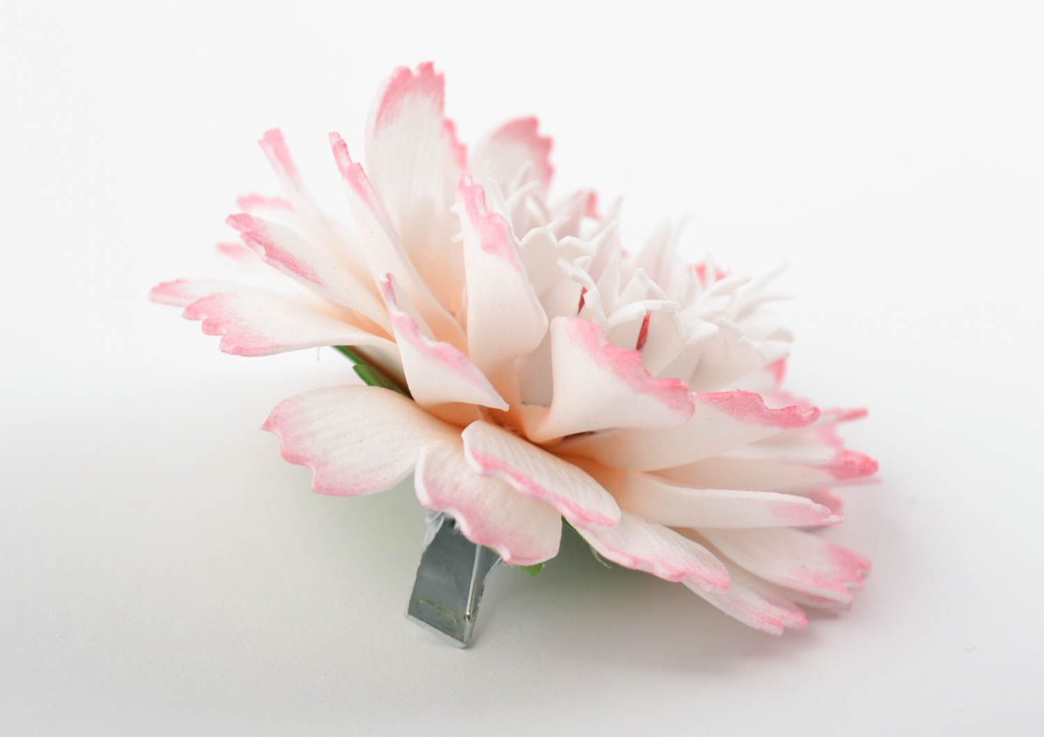 Beautiful homemade textile flower hair clip foamiran flower barrette gift ideas photo 4