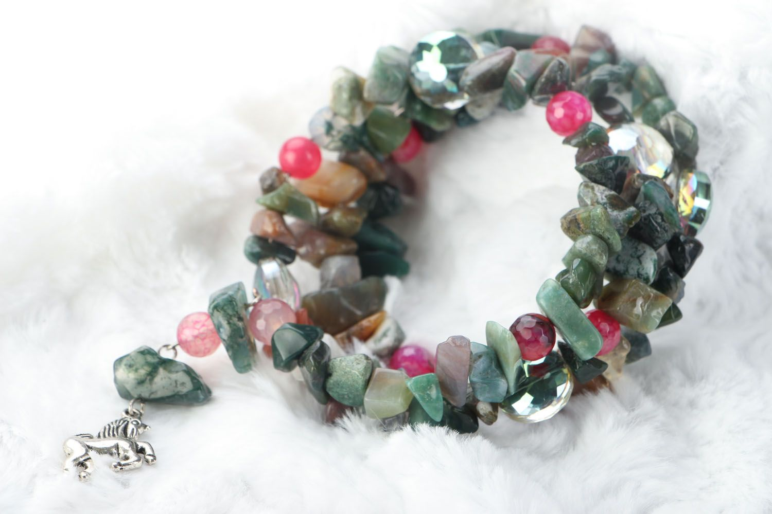 Wide bracelet with natural stones photo 4