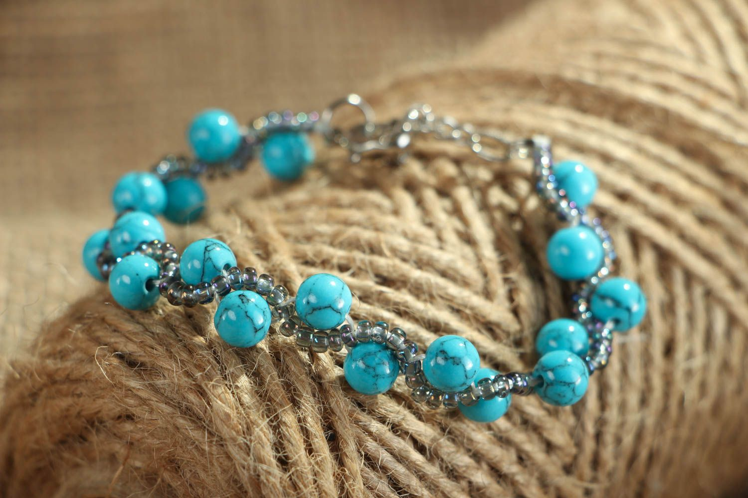 Bracelet with turquoise stone photo 4
