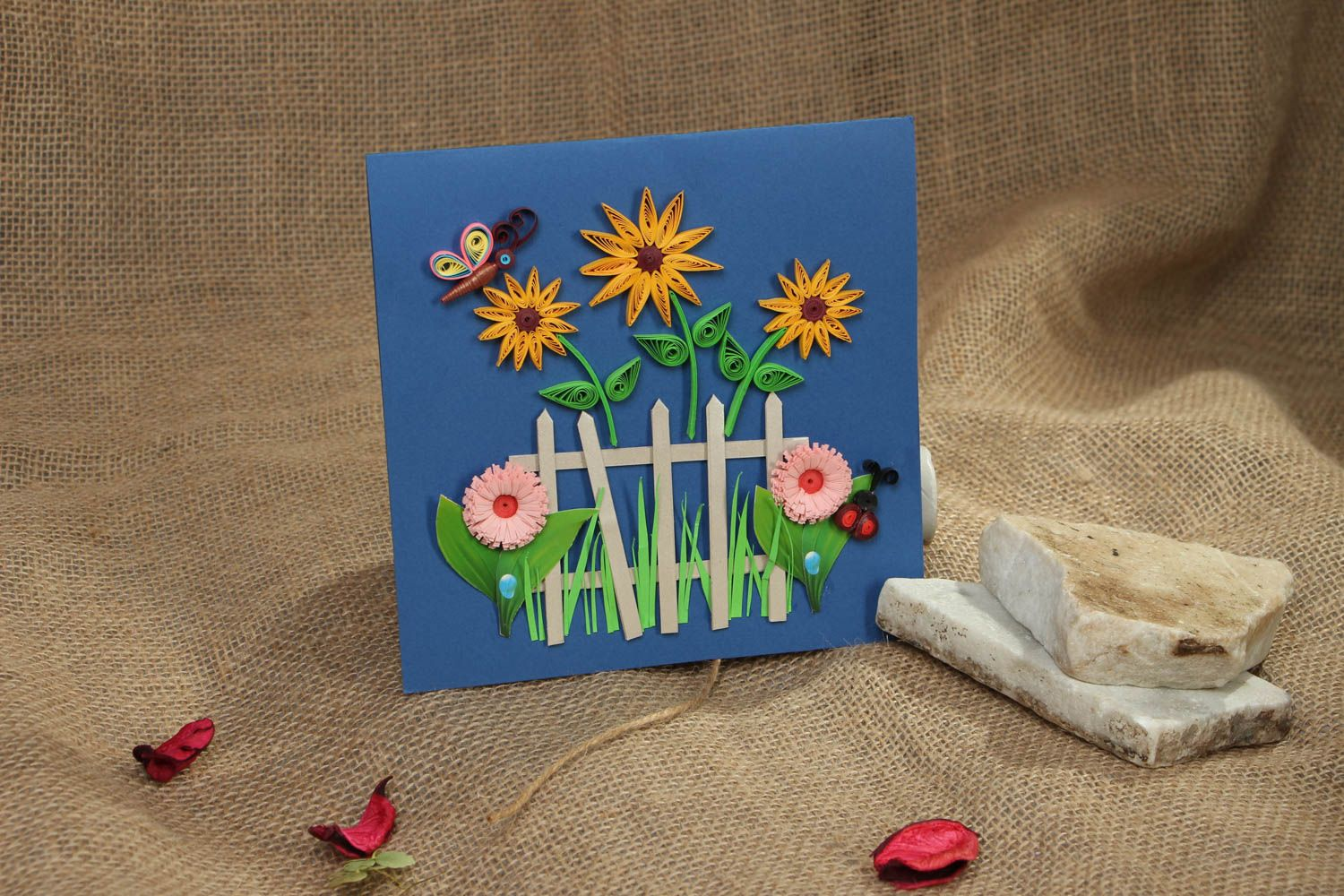 Handmade quilling greeting card with flowers photo 5