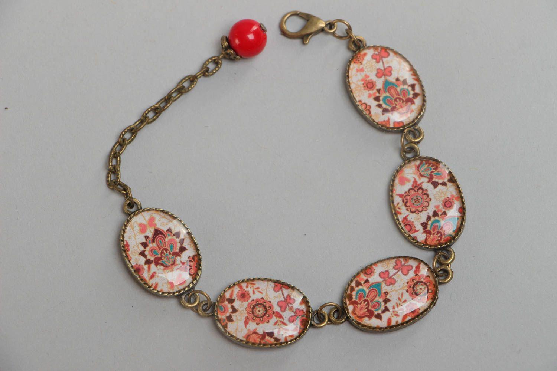 Handgemachtes bemaltes Armband aus Glasur an Kette im orientalischen Stil  foto 2