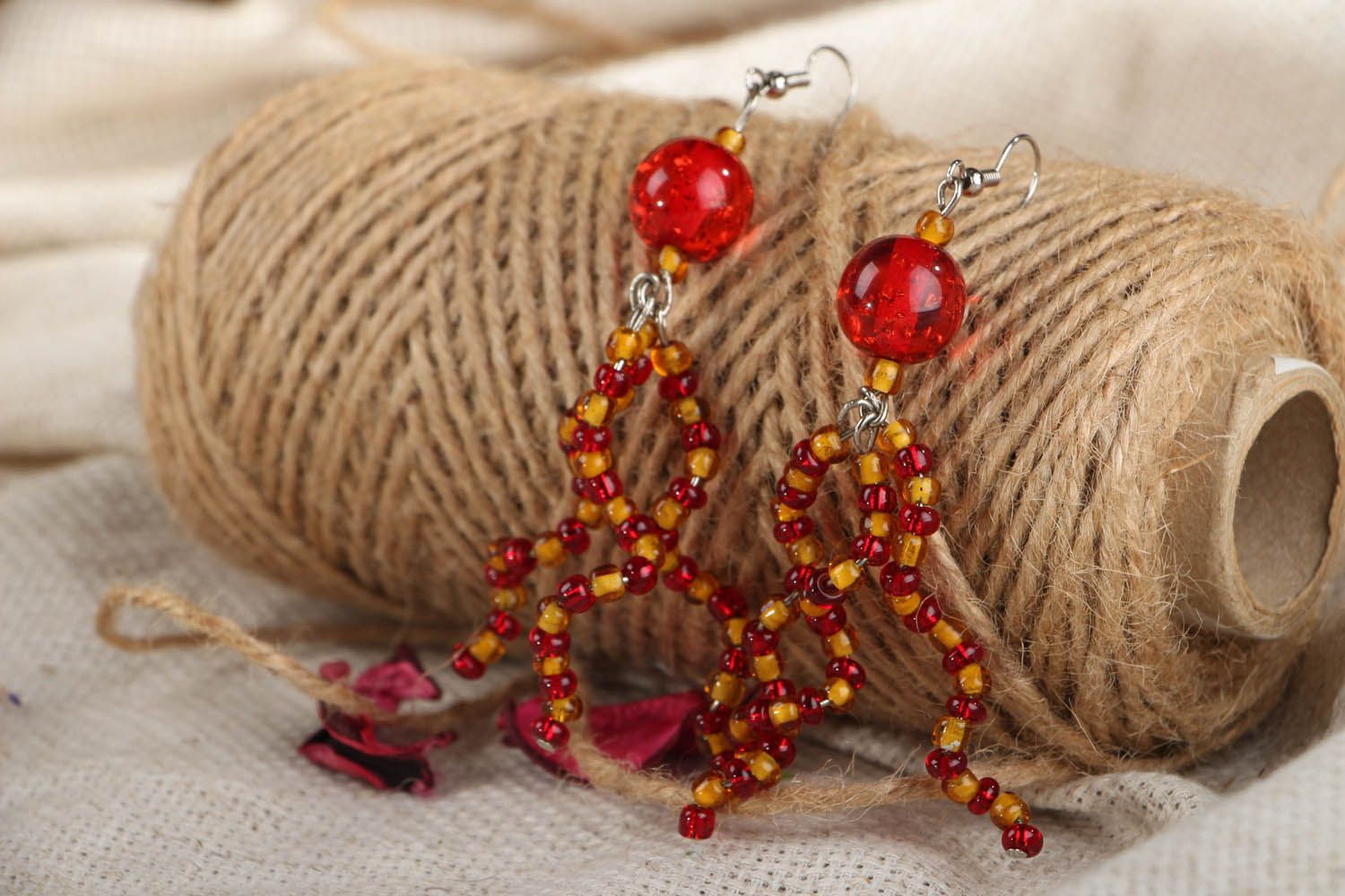 Long beaded earrings photo 3