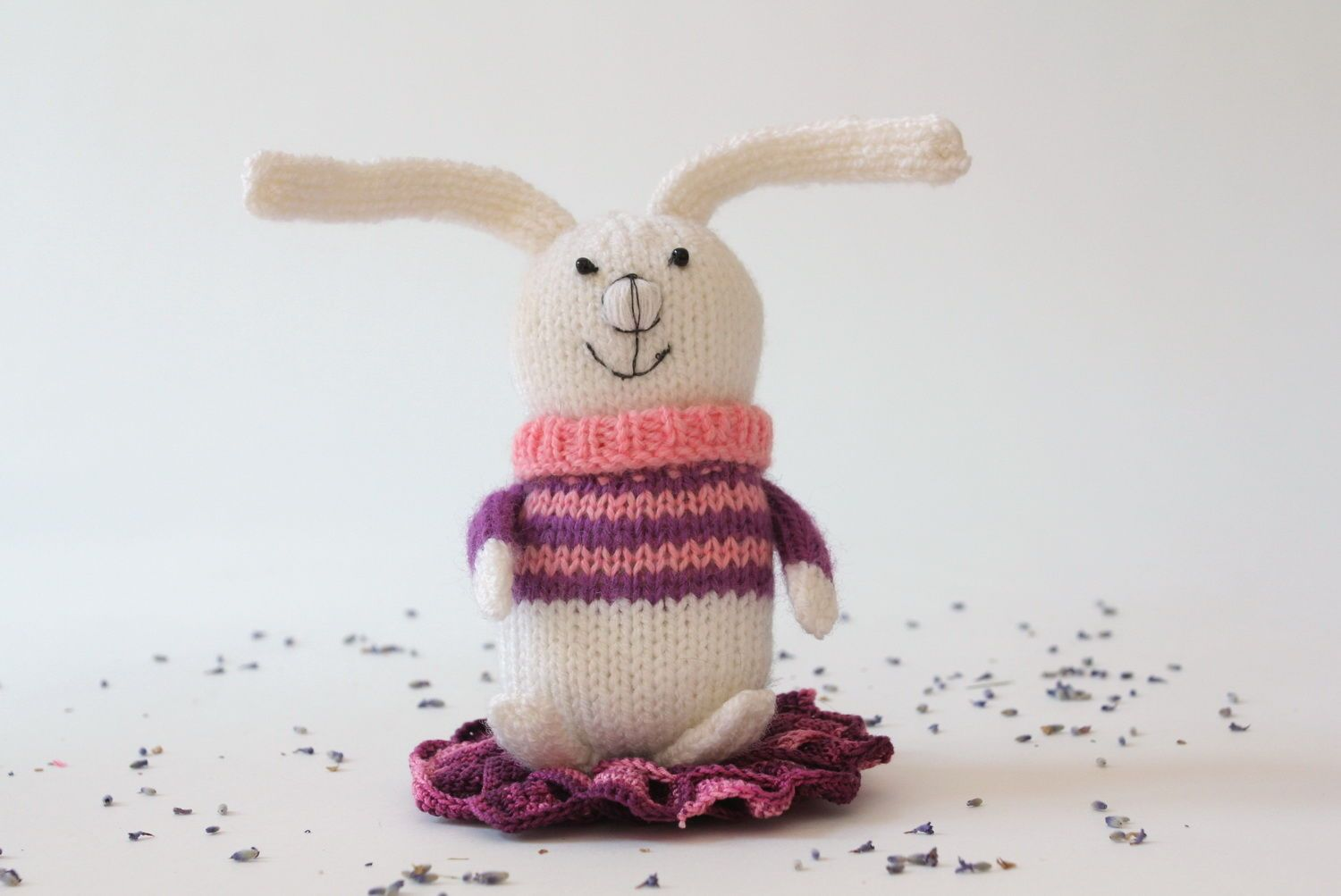 Knitted toy Baby rabbit in pink-purple sweater photo 1