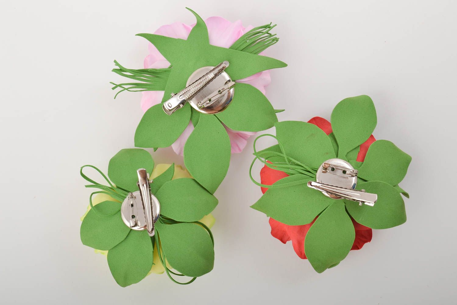 Handmade flower brooches flower hair clips handcrafted jewelry women accessories photo 8