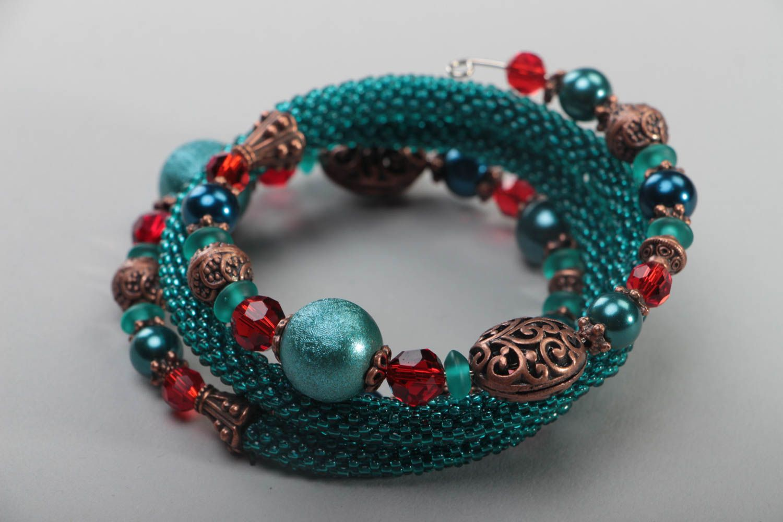 Multirow handmade bracelet unusual beaded accessory beautiful wrist jewelry photo 4