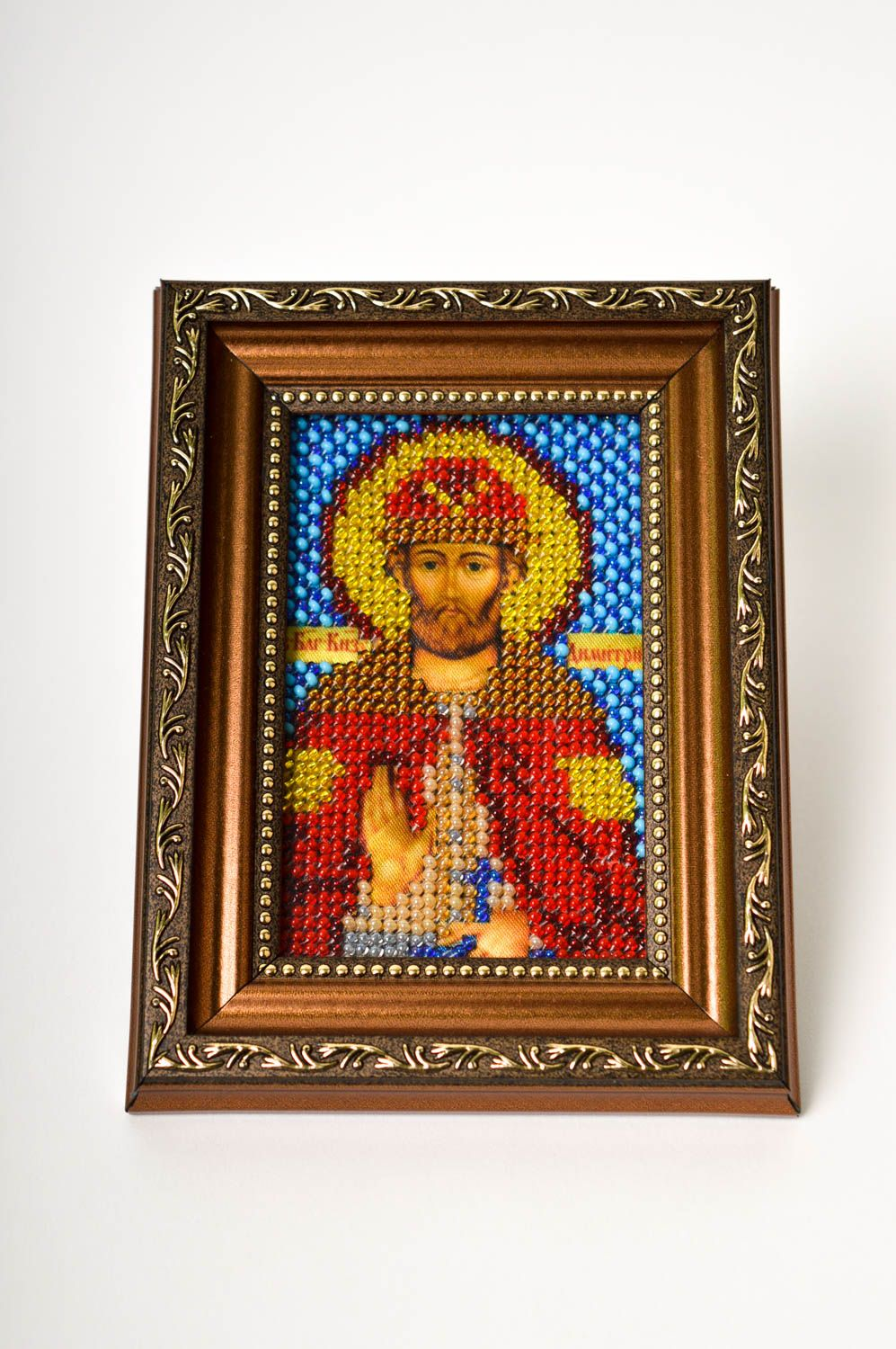 Handmade beautiful icon unusual embroidered icon beaded orthodox present photo 2