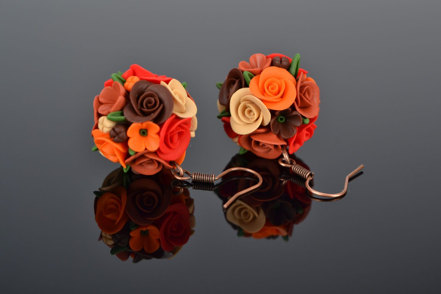 Handmade earrings Flower Balls photo 1