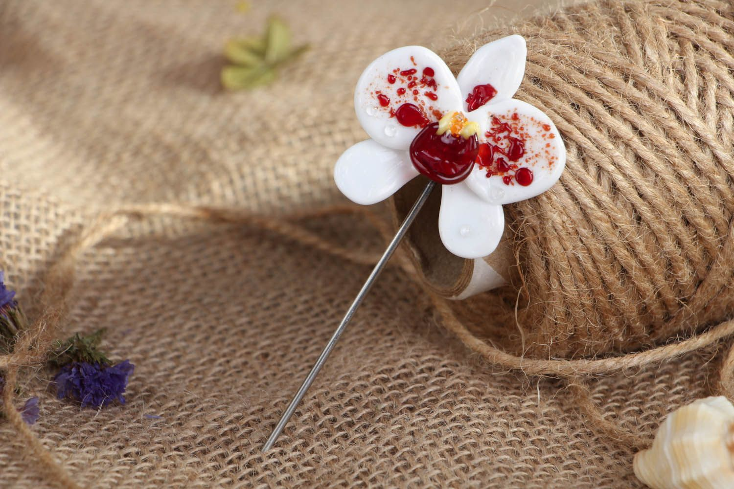 Glass brooch White Orchid photo 4