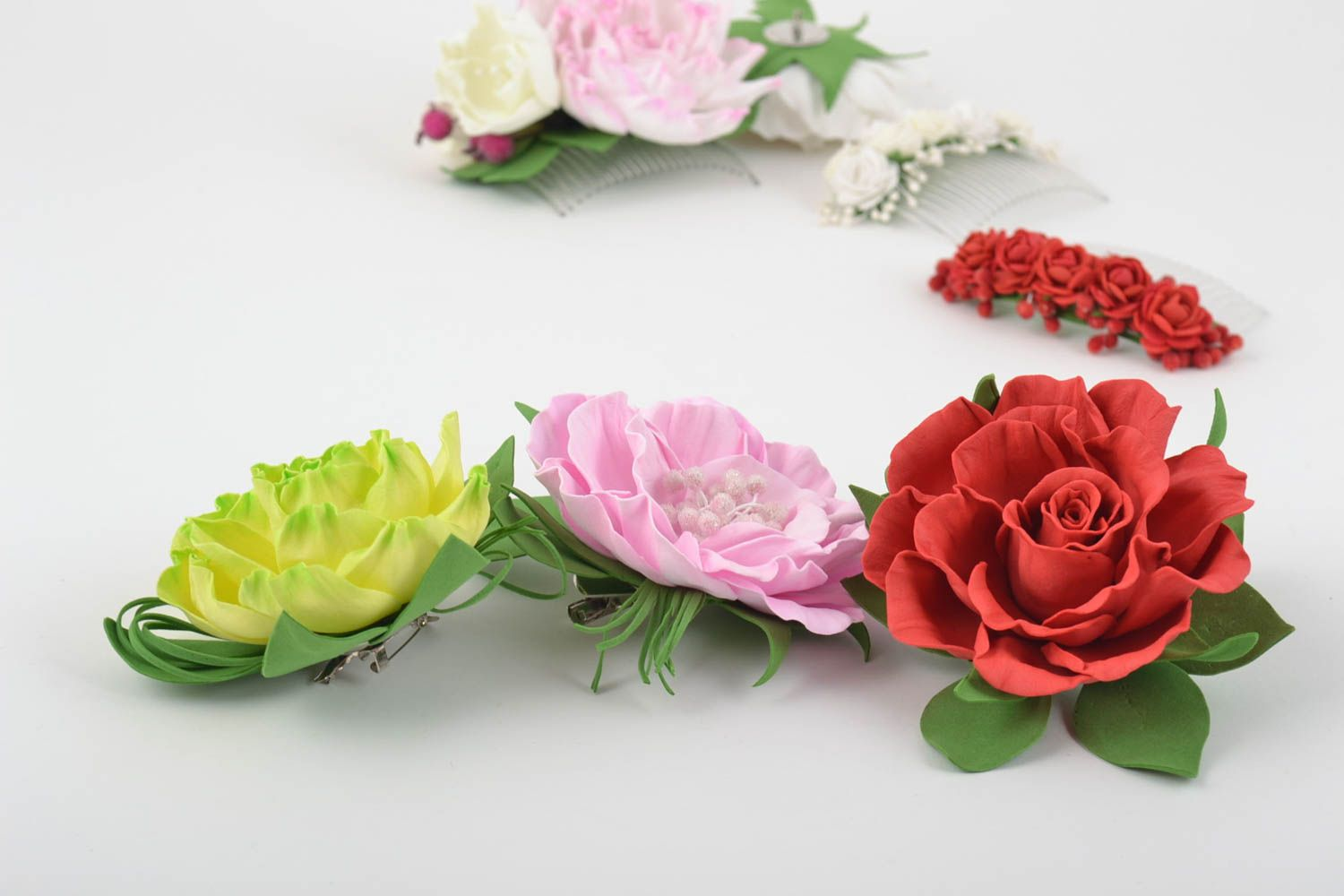 Handmade flower brooches flower hair clips handcrafted jewelry women accessories photo 1
