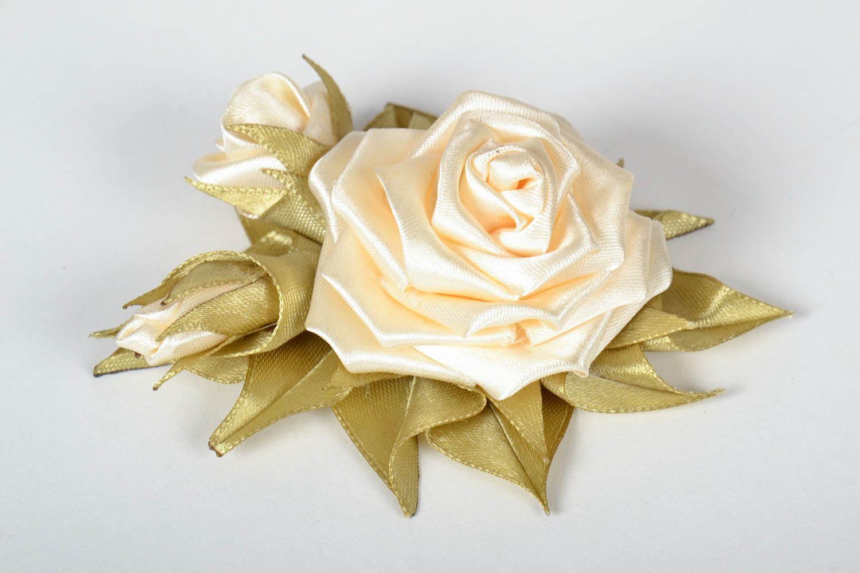 Satin handmade brooch Roses photo 2