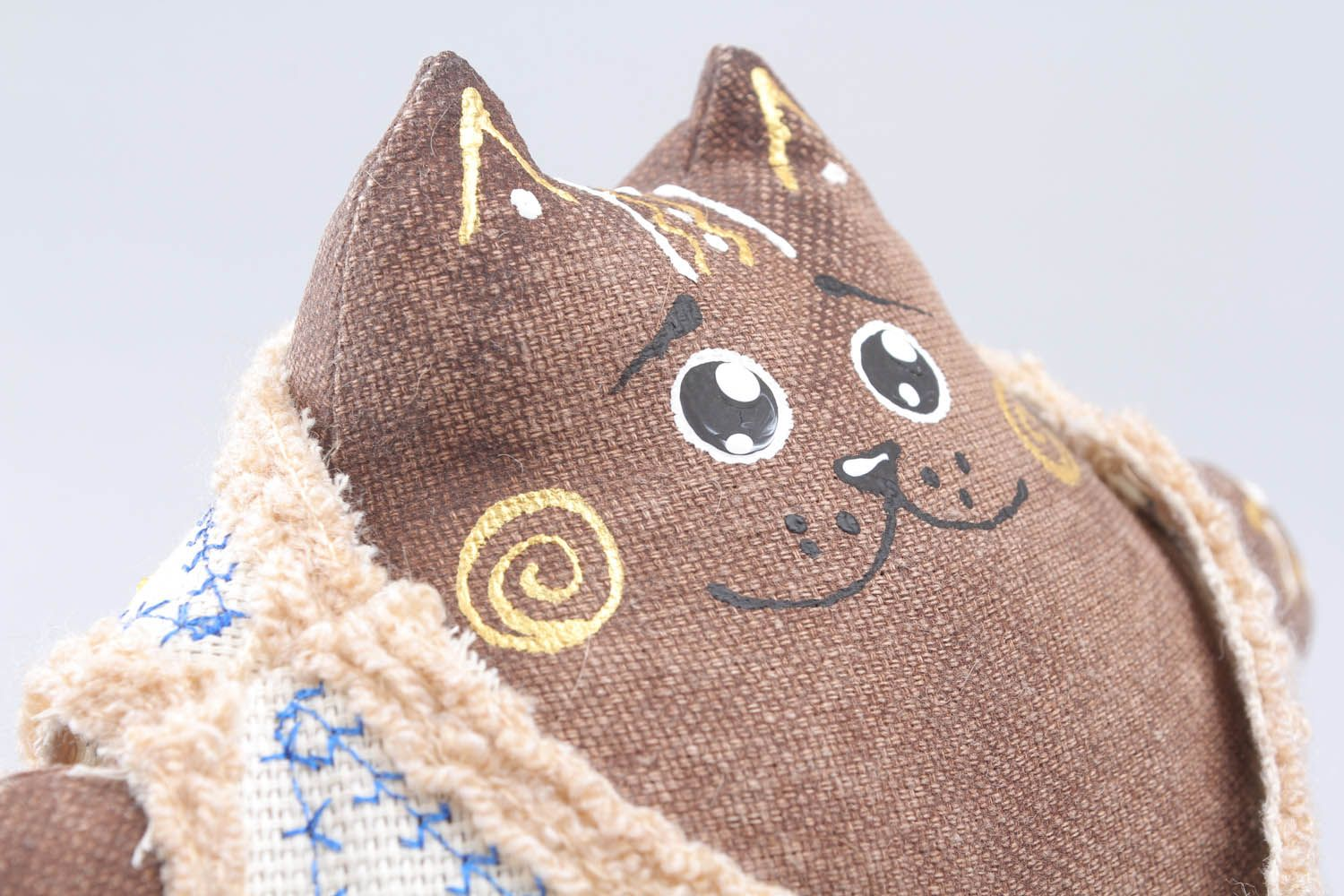 Soft interior toy Cat in Leather Coat photo 4
