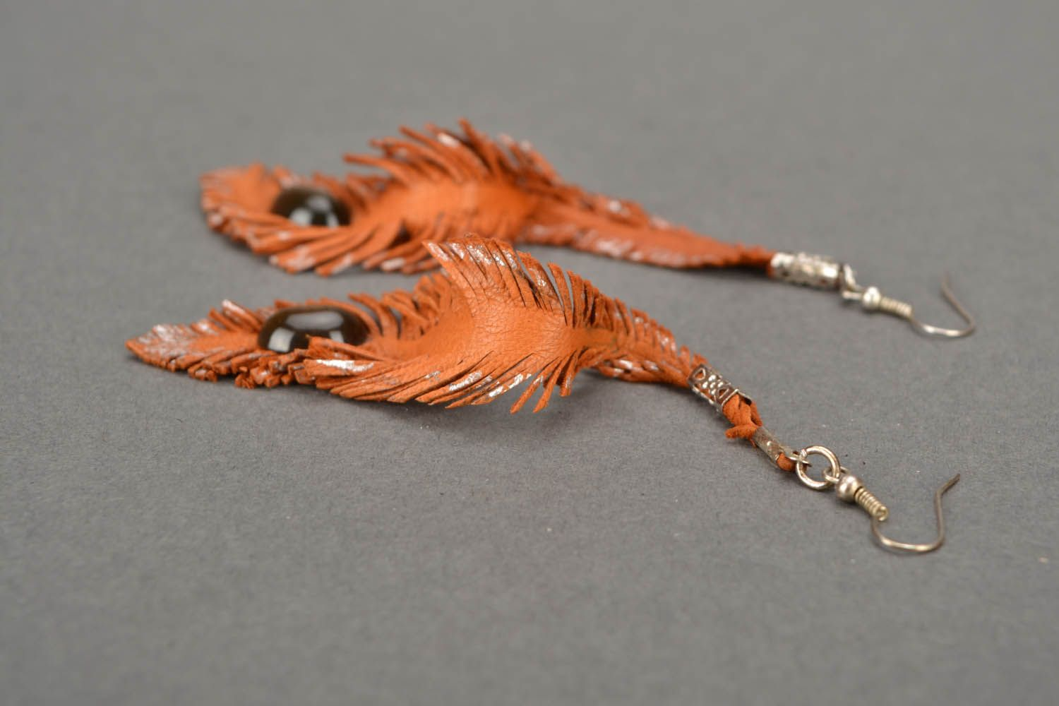 Long leather earrings Feathers photo 5