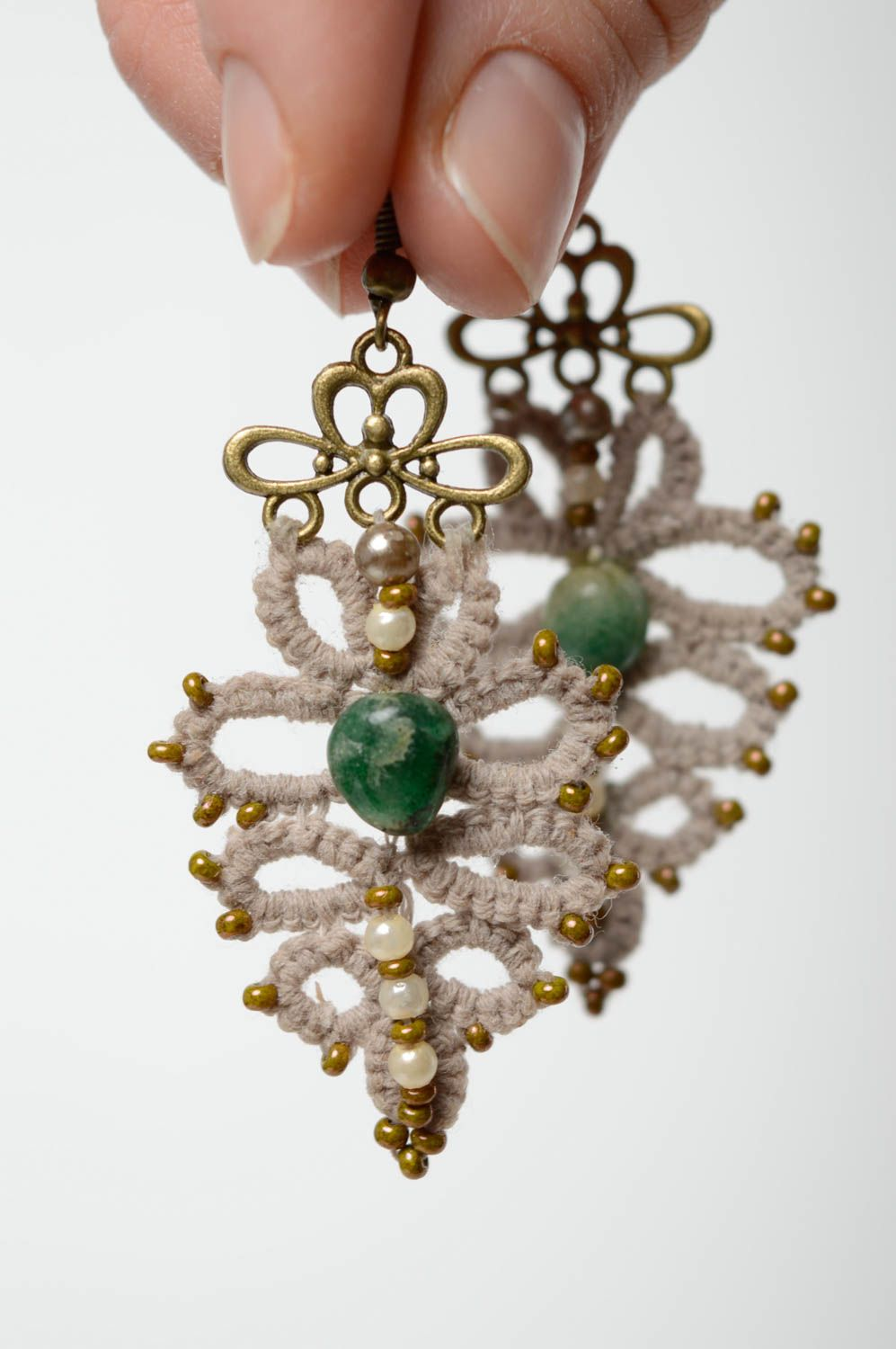 Crochet tatting earrings with natural stone photo 4