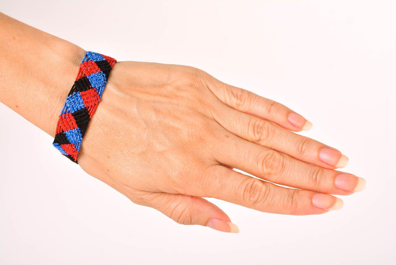 Браслет ручной работы браслет из ниток модный браслет сине красно черный  фото 2