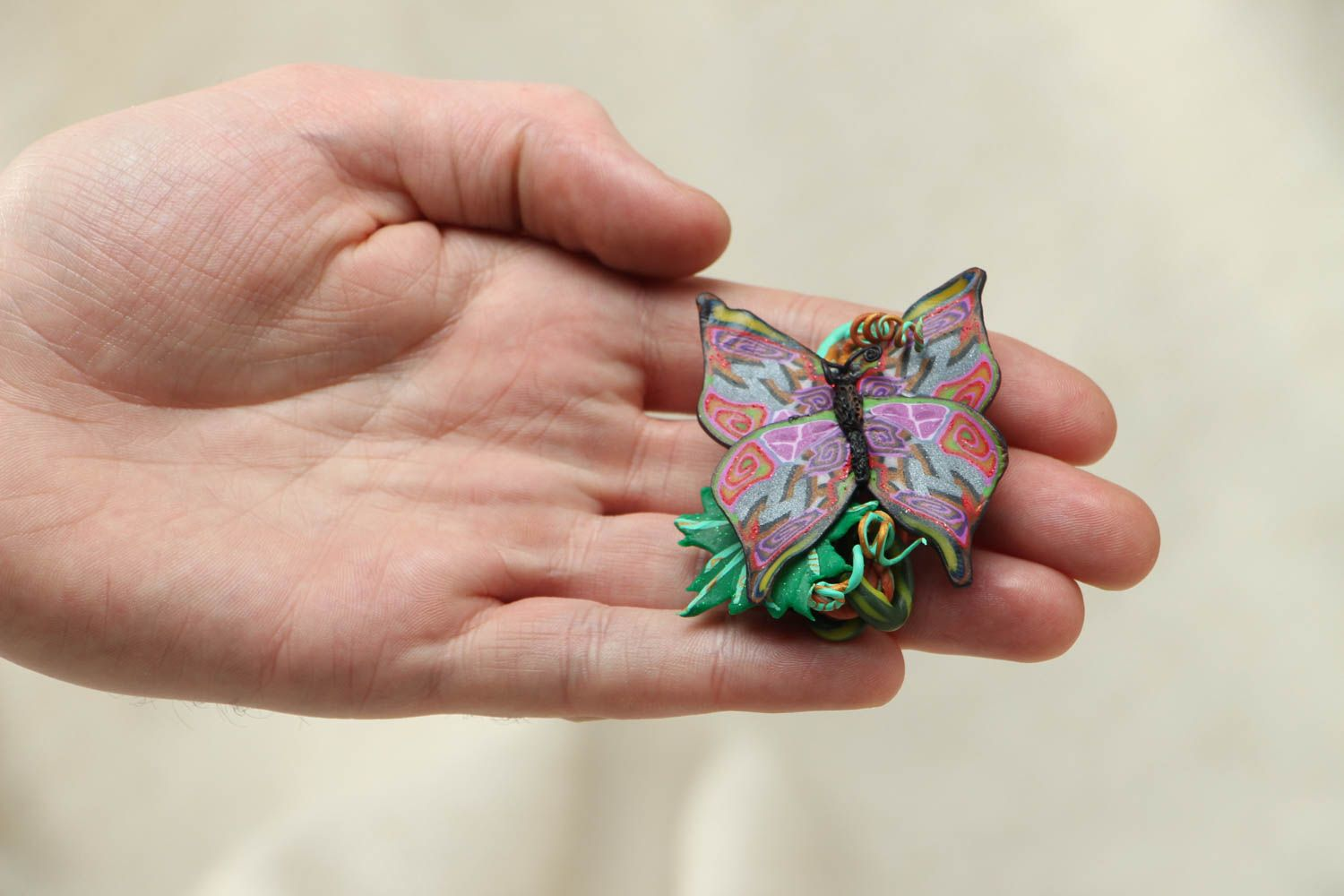 Women's polymer clay brooch in the shape of butterfly photo 4