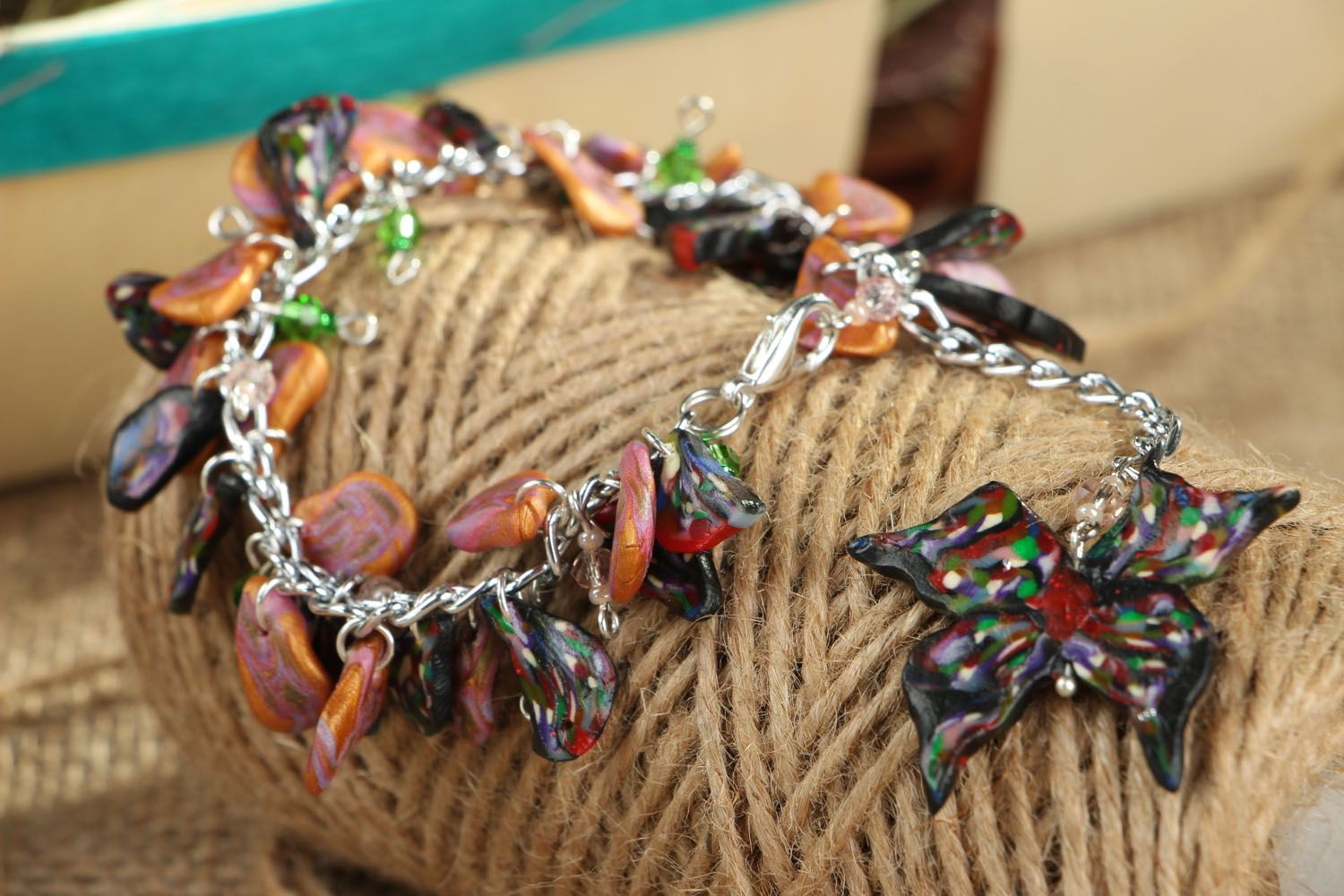 Bracelet with polymer clay charms photo 6