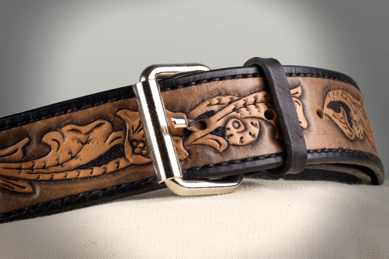 115ed6be2 cinturones y correas Cinturón de cuero natural con hebilla de metal  artesanal en estilo sheridan -