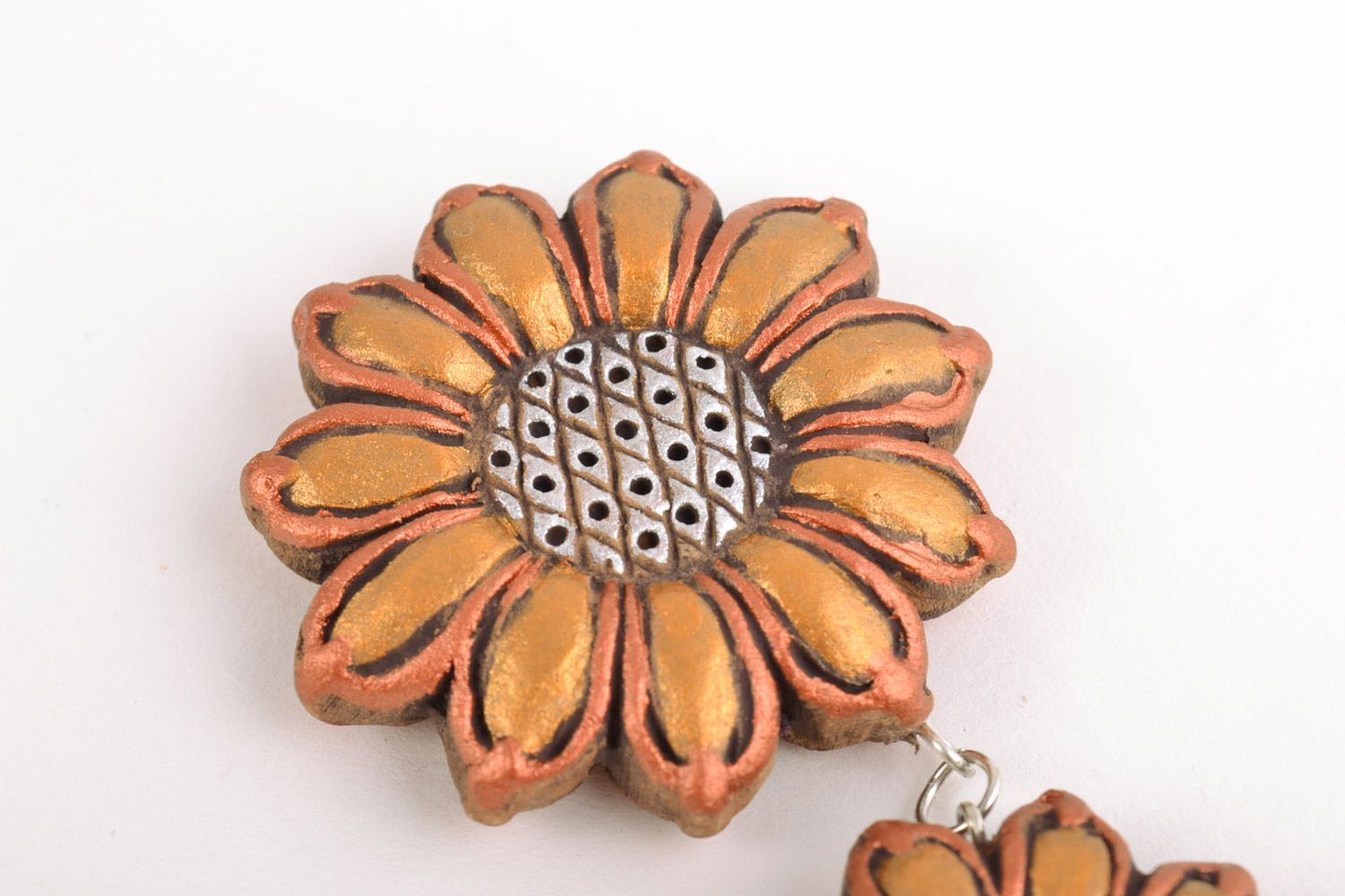 Long handmade clay neck flower pendant painted with acrylics  photo 4