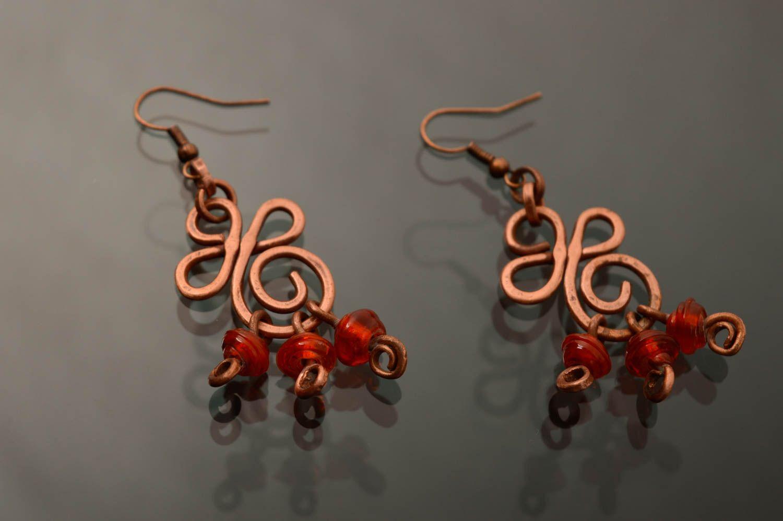 Ohrringe aus Kupfer in Wire Wrap Technik mit Perlen Lampwork foto 2