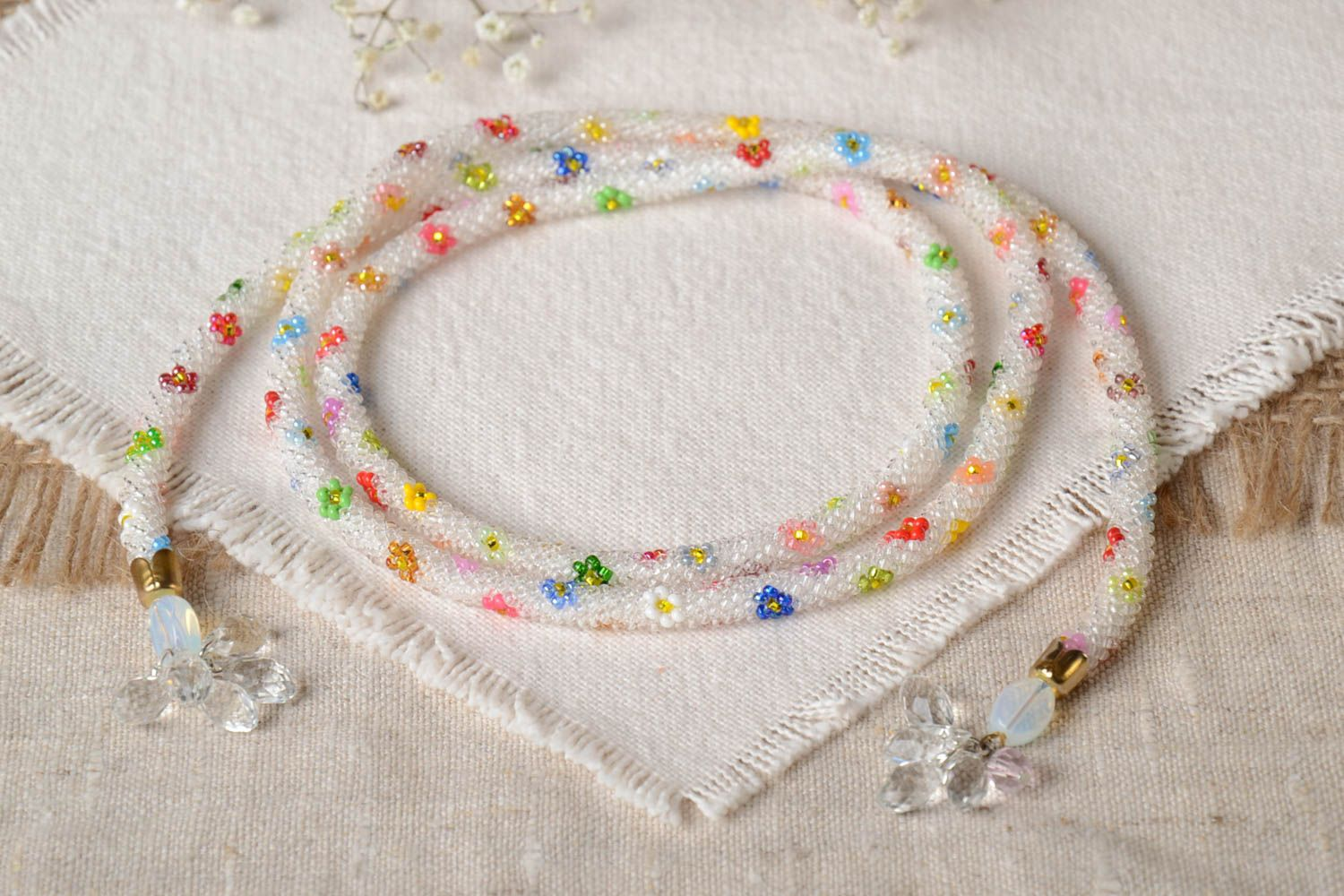 Colorful handmade beaded cord necklace long necklace for women gifts for her photo 1