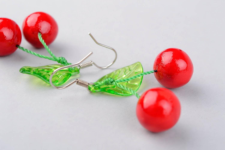 Ohrringe Kirschen aus Polymerton foto 2