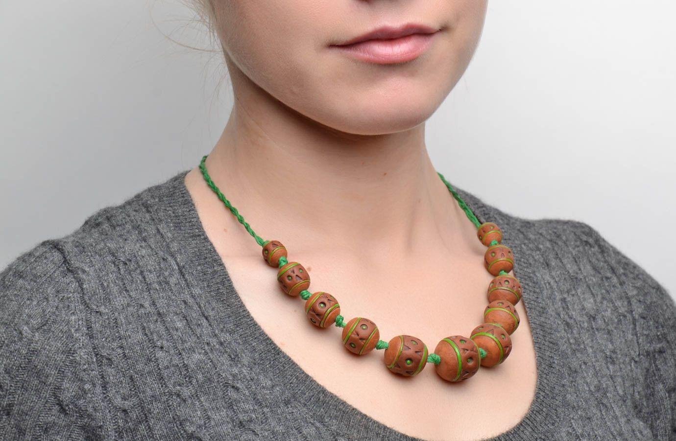 Broe=wn ceramic bead necklace photo 2