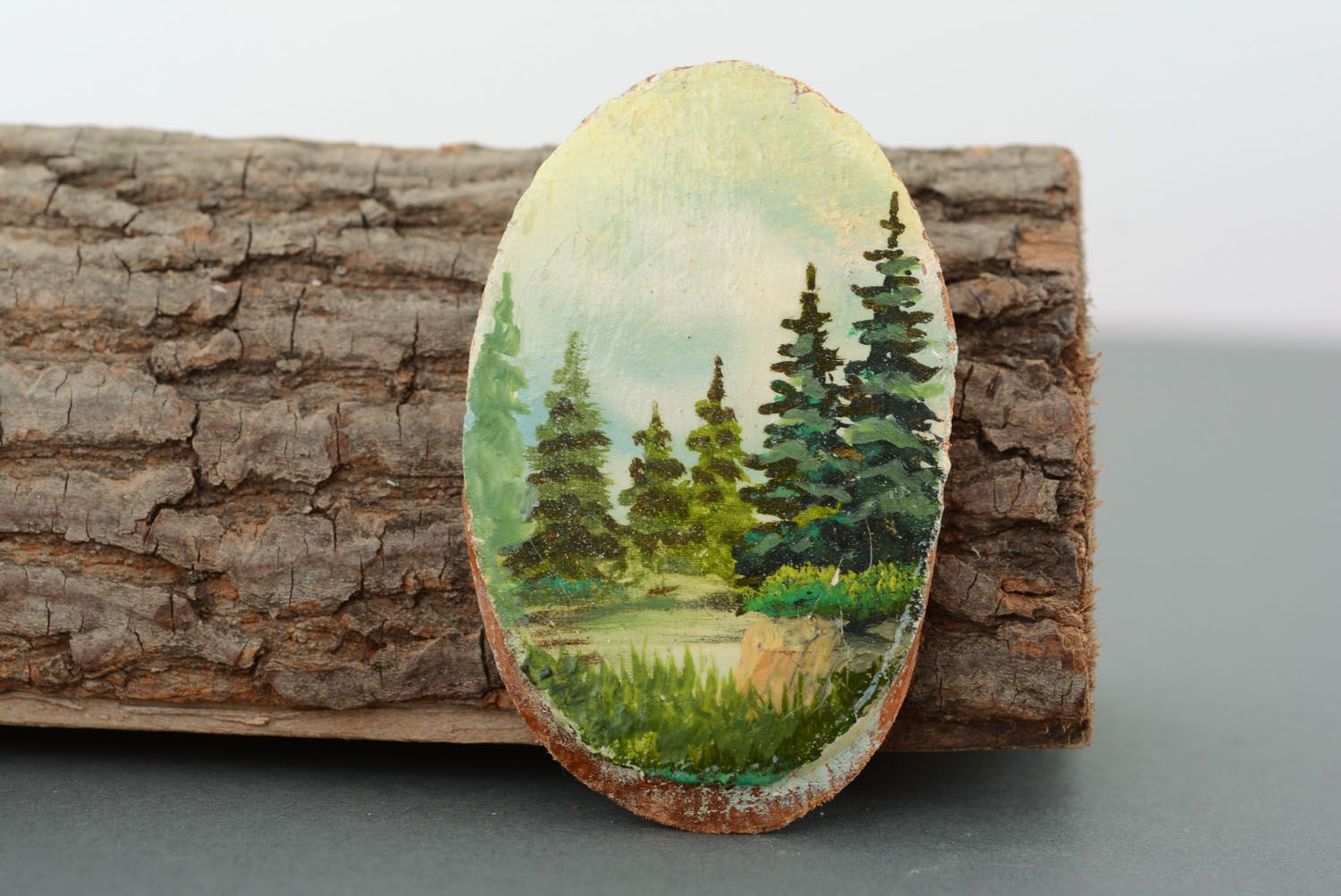 Wooden fridge magnet Firs photo 1