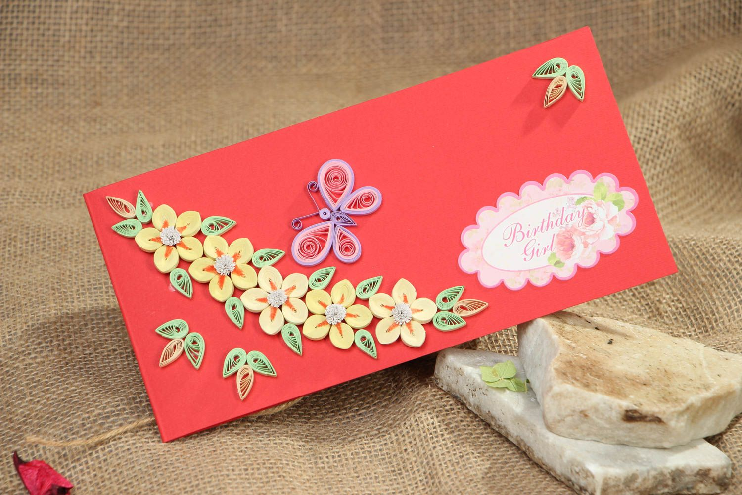 Quilling greeting card with flowers photo 5