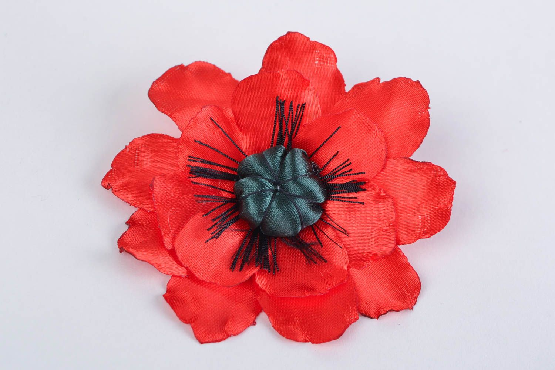 Handmade designer bright satin ribbon flower brooch Red Poppy present for women photo 3