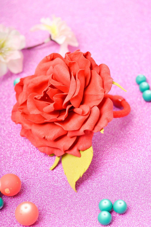 Kopfschmuck Blume handgefertigt Damen Modeschmuck effektvoll Haarspange Blume foto 2
