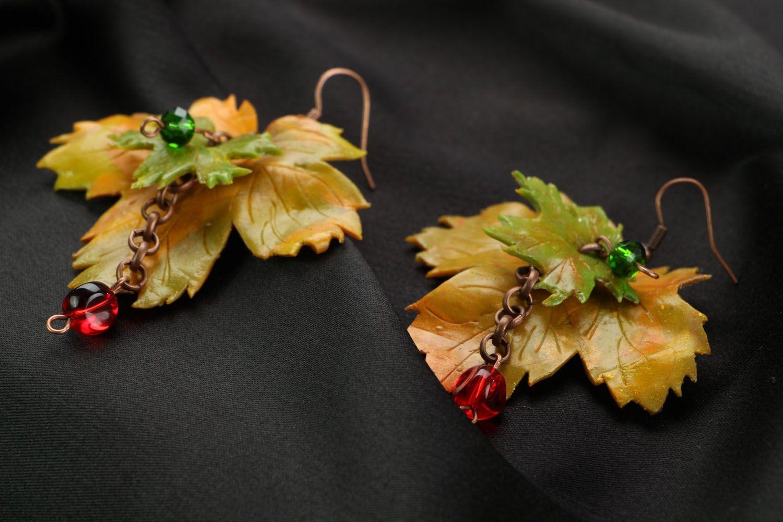 Ohrringe aus Polymerton Herbstblätter foto 2