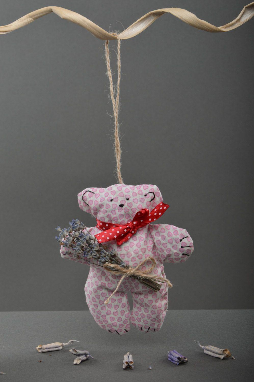 Handmade pink soft sachet pillow with herbs toy bear photo 4