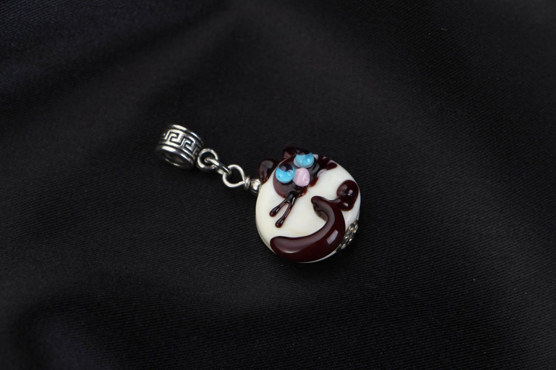 Handmade glass pendant Siamese Cat photo 1