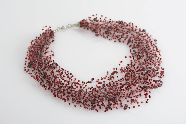 Multi row handmade decorative beaded airy necklace unusual beautiful accessory photo 1